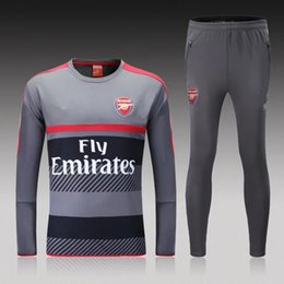 Wholesale 16 Arsenal gray sweater tracksuit Sportswear training Suits men s Clothes Trackring suits Male Hoodies mix order