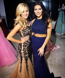 2016 Navy Blue Two Pieces Mermaid Prom Dresses Jewel Neckline Sleeveless Beaded Prom Dresses Long Floor Length Formal Evening Party Wear