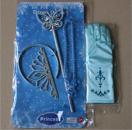 Wholesale girls cinderella accessories crown magic wand necklace baby girls xmas sets rhinestones crown butterfly wand high heels necklace gloves