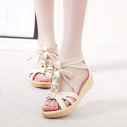 Wholesale In the summer of and Bohemia wind sandals with beaded shoes size shoes slip Rome students