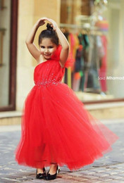 2017 robes en tulle sans manches Robes Red Pageant pour les filles une épaule sans manches perlée robes fille fleur Communion Dress Custom Made Enfants 2016 robes en tulle sans manches autorisation
