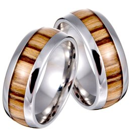 Wholesale Factory Direct Never Fade Vintage L Titanium stainless steel ring wood grain ring wedding ring price