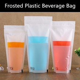 Wholesale 100pcs micron Stand up Frosted Plastic Ziplock Bag Matt Plastic Drink Packaging Pouch Ziplock Transparent Plastic Beverage Bag