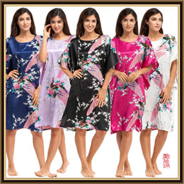 Wholesale Sexy Silk Robe Long Purple - Round Neck Women's Japanese plus size Silk Kimono lingerie sexy Robe calico Flower Nightdress Sleepwear Kimono Underwear long Robes CL-WQ10