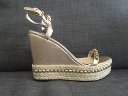 actual shoes! f898 40 genuine leather spikes wedge platform sandals gold black denim designer brand