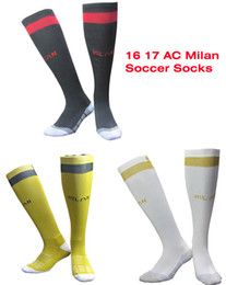 Wholesale Benwon AC Milan home black sport socks men s Knee High cotton soccer stocking thai quality Thicken Towel Bottom long hose sportswear