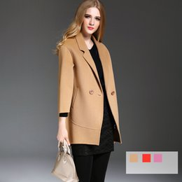 Wholesale Cashmere Lady Coat - 2016 Best Sales Women Woolen Coats Two Sides Tailored Collar Lady Overcoat Brand New Designer European Style Fast Shipping Hot YM16506