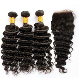 Descuento 7a encierro del pelo de la onda profunda Filipina Virgen del pelo de la onda profunda con el encierro 7A bruto rizado del cabello humano teje 3 lotes o cierres Natural Negro trama 1Piece tapa del cordón
