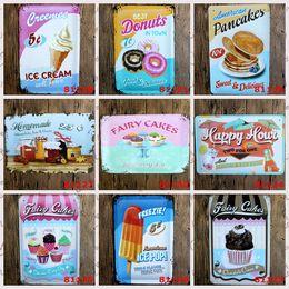 Wholesale Fairy cakes pancakes ice cream vintage Coffee Shop Bar Restaurant Wall Art decoration Bar Metal Paintings x30cm tin sign