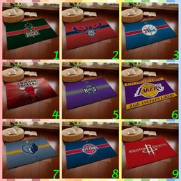 Wholesale 20pcs CCA3819 High Quality Desighs Flannel Anti skid Carpet cm Basketball Team Doormat Flannel Bedroom Carpets Cartoon Door Rugs