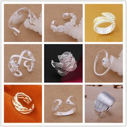 20PCS LOT 925 Sterling Silver fashion jewelry Ring Adjustable Leaf Rings for women Mixed Order styles