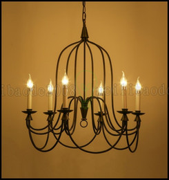 Wholesale 6 Lights American Country Retro Vintage Lighting Industry Restaurant Cafe Wrought Iron Candle Chandelier Bar Pendant Lamps Lights LLWA172