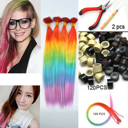 Wholesale 100pcs rainbow multicolour hair i tip extensions ball hair extension Imitation Of Feather Beads Hook plier kit