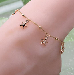 Wholesale 2016 New Women Charm Starfish Gold Chain Link Anklet Bracelet Barefoot Sandal Foot Jewelry For Woman Female t660