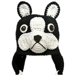 Novelty Bulldog Earflap Hat,Handmade Knit Crochet Baby Boy Girl Puppy Animal Hat,Children Winter Hat,Toddler Photography Prop