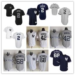 Wholesale Men s New York Yankees Derek Jeter Mariano Rivera Cool Base Jerseys Mariano Rivera Gray White Official Cool Base Player Baseball