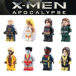 Wholesale X Men Apocalypse White Queen Sabretooth Kitty Pryde Bishop Rogue Warpath Minifigure Building Blocks Pogo PG8012