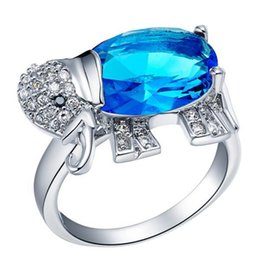 Wholesale Wedding Rings Silver Ring Women Zircon Elephant CZ Crystal Sparkling Red Blue Purple Fashion Jewelry anillo de plata Gemstone Rings