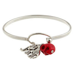 Wholesale 3pcs new Fashion designer ornamentation promotion Elegant Pendant Red Skull bracelets bangles fine jewelry