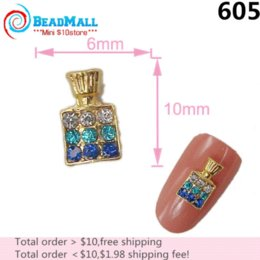 Wholesale Min Order Nail Supplies mm D Nail Art Decorations Alloy Crystal Blue Rhinestone Perfume Bottle Silver Metal