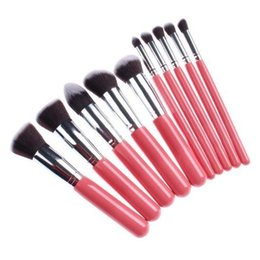 10PCS Professional Premium Pink Golden Kit Kabuki Makeup Brush Set