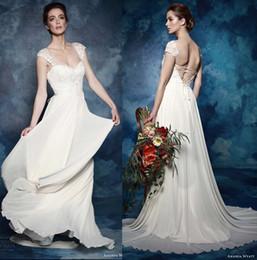 Wholesale 2017 wedding dresses illusion cap sleeves sweetheart A line wedding gowns romantic elegant amanda wyatt bridal gowns