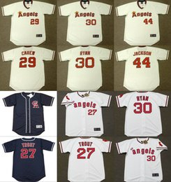 Wholesale Men MIKE TROUT NOLAN RYAN REGGIE JACKSON ROD CAREW California Angels Throwback Alternate Baseball Jersey stitched