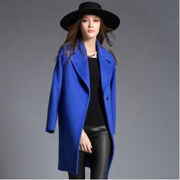 Wholesale women s cashmere coat Promotion New woolen coat woman jacket winter overcoat solid clothes Woollen coat female long