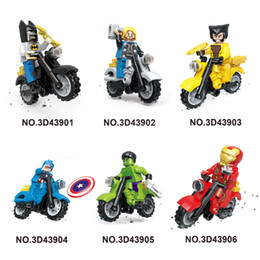6pcs Set Super Heroes Marvel Assemble Avengers DC Hulk Captain America Building Blocks Sets Bricks 3D43901-6