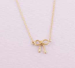 Fashion 18k Gold silver plated Little Twist Bow necklace Pendant Necklace for women gift Free Shipping Wholesale