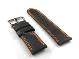 24mm (Buckle 24mm) High Quality Orange Stitched Black Genuine Leather Watch Bands Straps Bracelets B1106ao