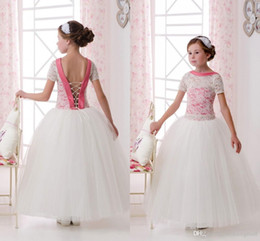 2016 Short Sleeves Lace Tulle Flower Girl Dresses Vintage Child Pageant Dresses Beautiful Flower Girl Wedding Dresses