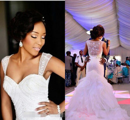 Wholesale 2016 New Afraic Nigerian Wedding Dresses Mermaid Beading Organza See Through Back Chapel Train Ruffles Plus Size Bridal Gowns Cheap Custom