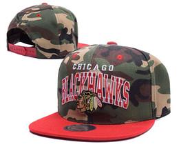 Wholesale Top Quality Men s Camo Color Chicago Blackhawks Flat Visor Snapback Hats Fashion Adjustable Hockey Baseball Caps Team Logo Print Under Brim