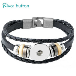 P00888 Hot Wholesale Newest Design Ginger Snap Bracelet Snap Buttons NOOSA Chunks Leather Bracelets For Women Fit 18mm Rivca Snap Jewelry