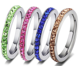 Hot full colour stones 316 stainless steel finger ring 4 colours free shipping