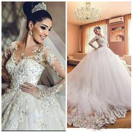 African Arabic Vintage Wedding Dresses 2019 Sheer Neck 3D Floral Appliques Long Sleeves Wedding Dress Luxury Tulle Saudi Arabia Bridal Dress