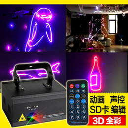 Wholesale 3d dynamic Laser Lighting remote control stage w full color animation projection lamp Dolphin smart SD card editing KTV disco light Dj