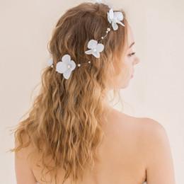 Wholesale 2016 Elegant Fascinators In Stock Korean Bridal Headbands with Delicate Flowers and Pearls Ivory White Burgundy Wedding Hair Accessories