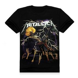 Wholesale New style mens fashion D stereoscopic letters Metallica printing t shirt personality short sleeved black cotton men s T shirt tees