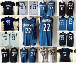 Wholesale A Minnesota Andrew Wiggins karl anthony towns Kevin Garnett Timberwolves black short white jersey for mens