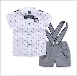 Wholesale 3 Set Baby Boys Navy Style Clothing Sets Children Short Sleeve Anchor Shirt Suspender Shorts Bowtie Kids Suits Boy Outfits