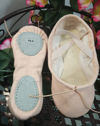 Wholesale 100 cotton canvas ballet slippers Comfort soft two split sole dance shoes for children and Adults Womens Mens Gymnastics Shoes