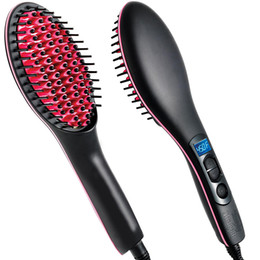 Wholesale new arrival simply straight ceramic electric degital control antiscaled hair straightener brush comb with lcd display DHL Free