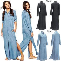 2016 Women Maxi Long Denim Dresses Fashion S-XXL Sexy Side Split Solid Casual Vestdos Jeans Shirt Dress Summer Autumn