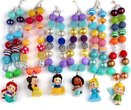 Wholesale New Style Childrens Princess Pendants Necklaces Chunky Bubblegum Beaded Pandent Kids Toddlers Girls Jewelry Birthday Party Gift Set
