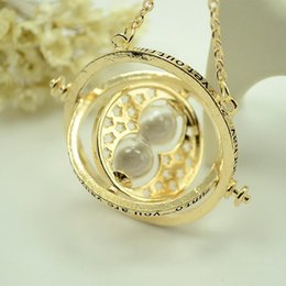 Wholesale Hot Sale Harry Potter Time Turner Necklace Hermione Granger Rotating Spins Gold Hourglass XL001