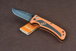 Wholesale GB Bear Grylls Survival AO Folder Cr17MoV Plain Drop point Orange Rubber Tactical Camping gear knives w retail packaging