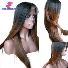 Wholesale Ombre dark roots two tone human hair full lace wig b b j ombre color human hair wigs for African american