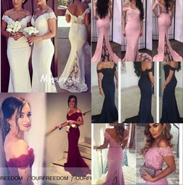 Wholesale 2016 Elegant Vintage Off the shoulder Mermaid Formal Evening Dresses Lace Sweep Train Backless Prom Gowns Vintage Arabic Party Dress Custom